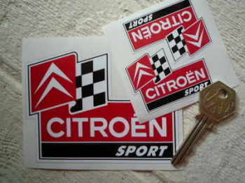 "Citroen Sport Classic Shaped Stickers. 2"" or 4"" Pair."