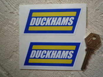 "Duckhams 90's Style Slanted Oblong Stickers. 4"" or 6"" Pair."