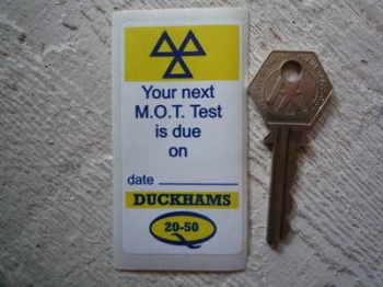 "Duckhams Q 20-50 'MOT Test Due' Service Sticker. 3""."