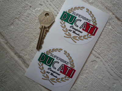 "Ducati 'Superbike' Garland Stickers. 2.5"" Pair."