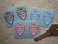 """Ducati Meccanica Bologna Shield Stickers. 1"""" Pair."""