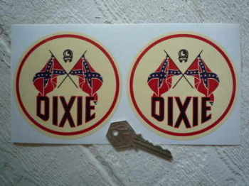 "Dixie Gas Round Stickers. 2"" or 4"" Pair."