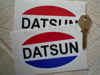 "Datsun Old Style Oval Stickers. 5"" Pair."