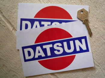 "Datsun Later Style Rising Sun Colour Stickers. 2.75"" or 6"" Pair."
