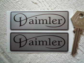 "Daimler Black & Silver Oblong Stickers. 3.5"" Pair."