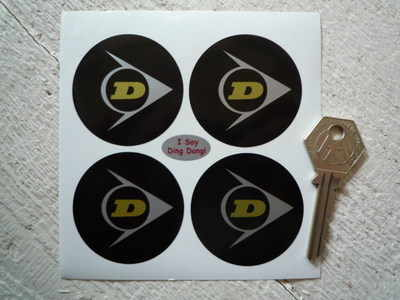 Dunlop Black Background Wheel Centre Stickers. Set of 4. 50mm or 52mm.