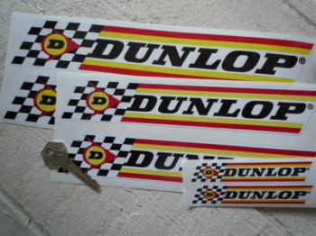 "Dunlop Check & Stripes Stickers. 4"", 6"", 9"", or 11"" Pair."