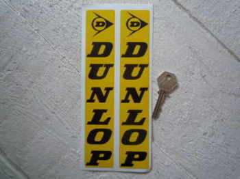 "Dunlop Fork Slider Stickers. Black on Yellow. 8"" Pair."