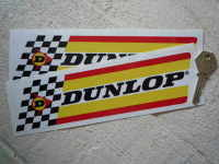 """Dunlop Thick Check & Stripes White Band Stickers. 9"""" Pair."""