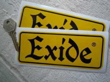 "Exide Yellow & Black Oblong Stickers. 6"" Pair."