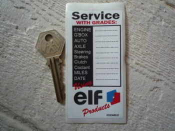 "Elf 'Service Using Elf Products' Service Sticker. 3.75""."