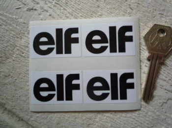 "Elf Back & White Oblong Stickers. Set of 4. 1.75""."