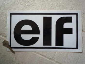 "Elf Back on White Outlined Oblong Sticker. 11""."
