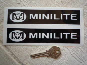 "Minilite Black & White Oblong Stickers. 6"" Pair."
