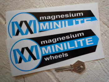 "Minilite Magnesium Wheels Shaped Stickers. 7.5"", 9"", or 12"" Pair."