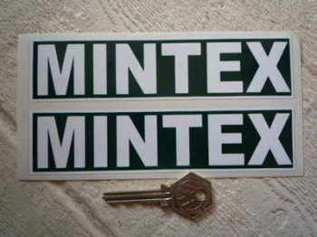 "Mintex Green & White Oblong Stickers. 6"" Pair."