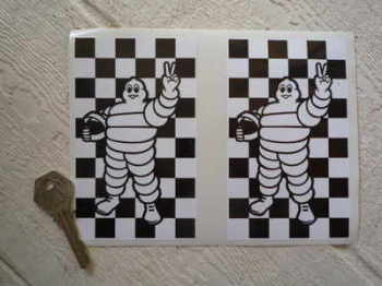 "Michelin Bibendum & Chequered Background Stickers. 5"" Pair."