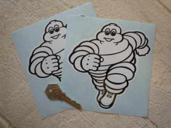 "Michelin Bibendum Running Towards Stickers. 2"" or 5.5"" Pair."