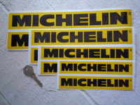"Michelin Horizontal Yellow & Black Stickers. 4"", 6"", 6.5"", 8.5"", 9.5"" or 12"" Pair."