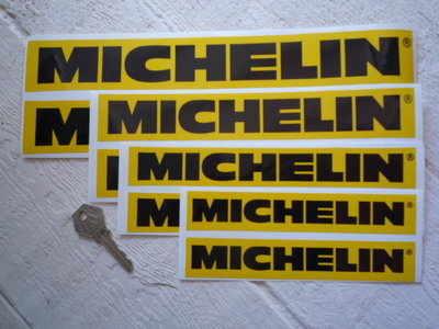 Michelin Horizontal Yellow & Black Stickers. Various Sizes. Pair.