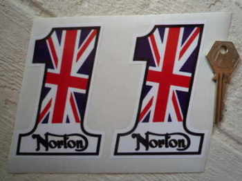 "Norton '1' Stickers. 4"" Pair."