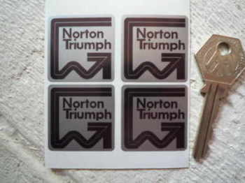 "Norton Black & Silver Stickers. Set of 4. 1.25""."