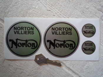 Norton Villiers Set of 4 Round Stickers. 2 x 85mm 2 x 30mm.