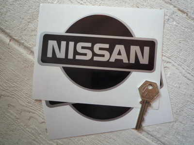 """Nissan Black & Silver Logo Stickers. 3.5"""" or 6"""" Pair"""