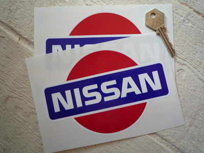 """Nissan Coloured Logo Stickers. 6"""" Pair"""