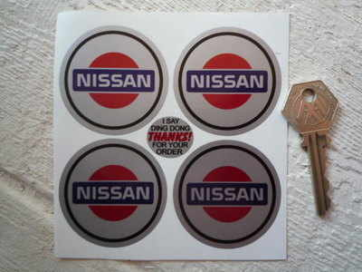 Nissan Logo Wheel Centre Stickers. Set of 4. 50mm.