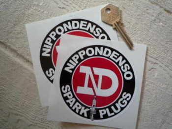 """Nippondenso Spark Plugs Round Stickers. 4"""" Pair."""