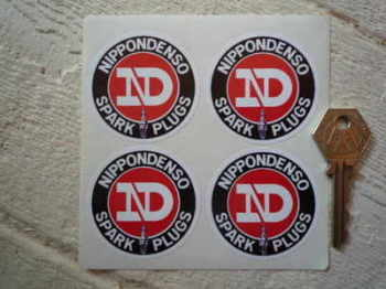Nippondenso Spark Plugs Round Stickers. Set of 4. 50mm.