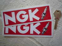 "NGK Red & Spark Plug Oblong Stickers. 4"", 5"", or 6"" Pair."