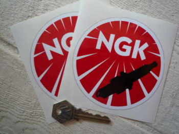 "NGK Round Black Spark Plug Stickers. 4"" Pair."