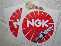 NGK Round Detailed Plug Stickers. 3.25