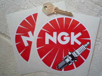 "NGK Round Detailed Plug Stickers. 3.25"", 5"" or 6"" Pair."