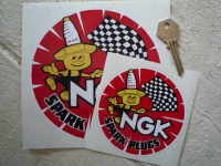 NGK Spark Plugs & Little Man Round Stickers. 2.5