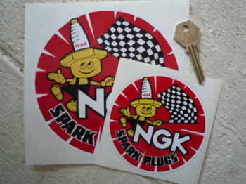"NGK Spark Plugs & Little Man Round Stickers. 2.5"", 4"" or 6"" Pair."