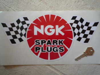 "NGK Spark Plugs Chequered Flag Sticker. 12""."