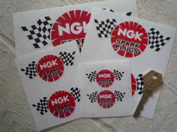"NGK Spark Plugs Chequered Flag Stickers. 2"", 3"", 4"", 6"", or 8"" Pair."