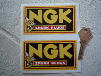 NGK Spark Plugs Little Man Oblong Stickers. Red Coachline Style. Various Sizes.