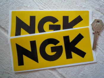 "NGK Yellow & Black Oblong Stickers. 3.25"" or 6.5"" Pair."