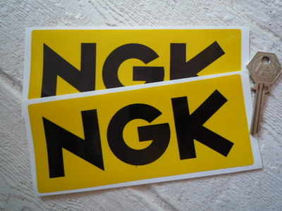 NGK Yellow & Black Oblong Stickers. 3.25