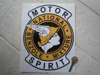 National Benzole Mixture Motor Spirit Shaped Sticker. 7.5