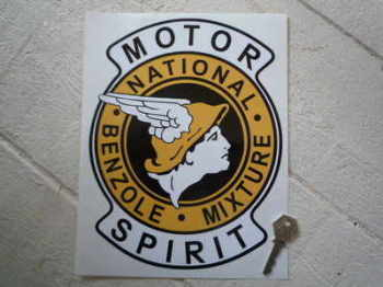"National Benzole Mixture Motor Spirit Shaped Sticker. 7.5"" or 10""."