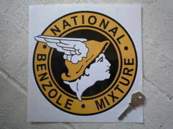 "National Benzole Mixture Round Sticker. 6"" or 8""."