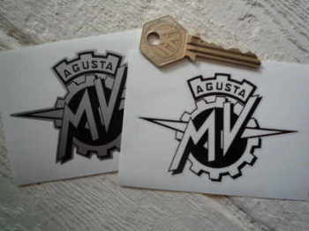 "MV Agusta Black & Silver/Clear Stickers. 3.5"" Pair."