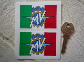 "MV Agusta Flag Style Sticker. 3"" Pair."