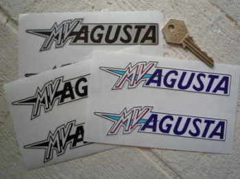 "MV Agusta Text Stickers. 5.25"" Pair."