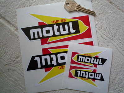 "Motul Huiles Shaped Stickers. 2.75"", 4"", 5.5"" or 8.5"" Pair."
